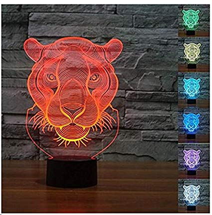 3D Tiger Lion Shaped Night Light 7 Color Change LED Table Desk Lamp Acrylic Flat ABS Base USB Charger Home Decoration Toy Brithday Xmas Kid Children Gift