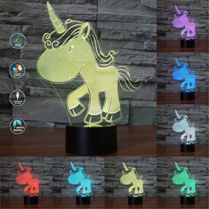Unicorn 3D LED Light 3D Illusion Night Lamp Touch Switch Desk Night Lights 3D Optical Illusion Lights 7-color Multicolored USB Power or Battery Power Home Decoration Color Changeable Lamp for kids