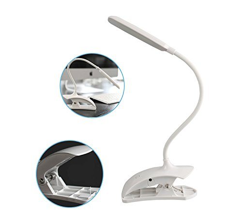 Rechargeable LED Table Lamp Touch Reading Light Dimmable Desk Lamp Portable Gooseneck Clip Desk Light White LZG