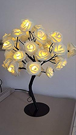 Table Lamp,BLINGSTAR 35LED Rose Tree Lamp with AC Adapter Flexible Flower Desk Lamp Bedside Lamp Tree Light for Party Bedroom Living Room Valentine Wedding Holiday Indoor Decoration (Warm White)