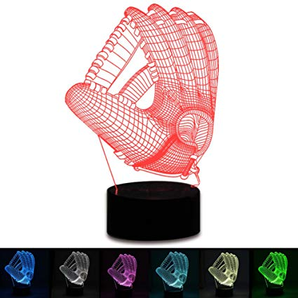 3D Baseball Gloves Lamp LED Night Light Touch Table Desk Lamp 7 Colors 3D Optical Illusion Lights