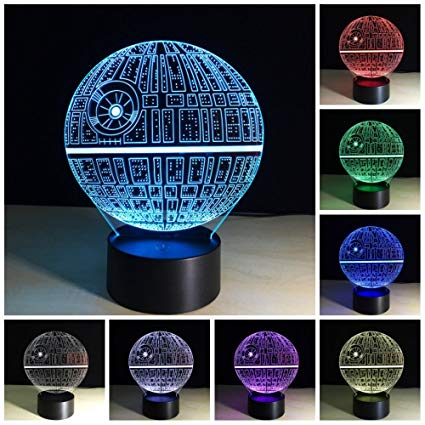 Amazing 3D illusion Effect LED Night Light Death Star LED Desk Table Night Light Lamp 7 Color Change Acrylic Press Lamp Kids Children Holiday Gift Home Office Baby Room Decoration Night Light