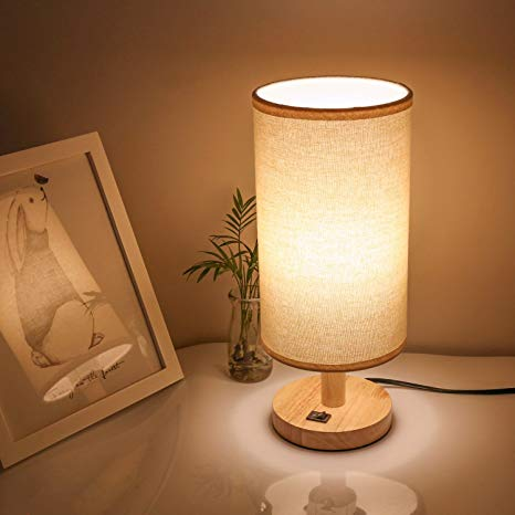Wood Bedside Lamp Small Nightstand Lamp End Table Lamp for Kids Boys Girls Adults Bedroom, Side Table Lamp Modern Farmhouse, LED Desk Lamp with Round Beige Linen Lamp Shade and Wood Base, 5