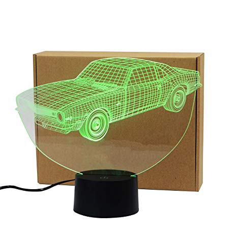 Classic Muscle Cars Crown Colorful Sport Patterns Acrylic Visual Touch Table Lamp Bar Art Decor USB 3D LED Desk Night Light 3D-TD127