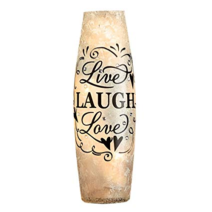 Collections Etc Live Laugh Love Frosted Faux Crystal Cylinder Accent Table Lamp - Makes a great Housewarming gift
