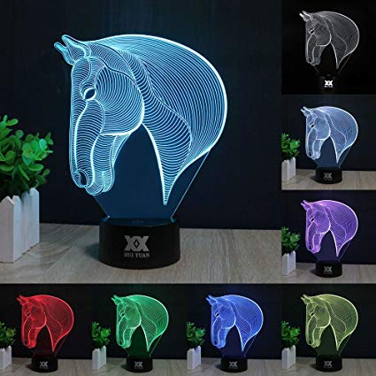 3D Lamp Touch Control LED Night Lights Decor Lights Horse Head Image 7 Colours Changes Best Gifts for Kid and Room&Dest Decoration