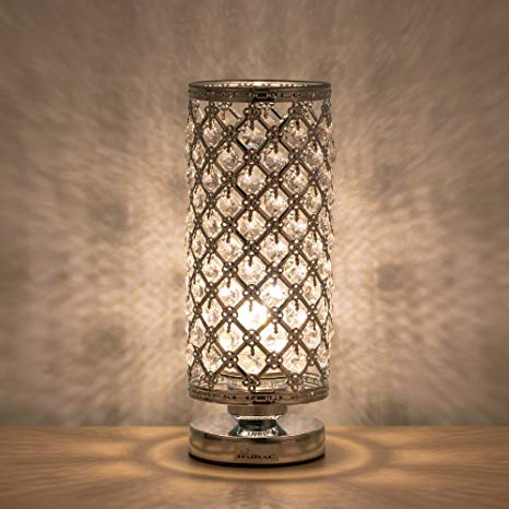 HAITRAL Crystal Table Lamp Modern Night Light Lamp with Metal Frame 110 Pcs Crystals Elegant Bedside Desk Lamp for Bedroom, Living Room, Dining Room Sliver
